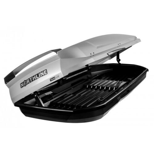 NORTHLINE-Tirol 420 Wing tetőbox, fényes ezüst színű/420 Liter (205x84x35 cm)